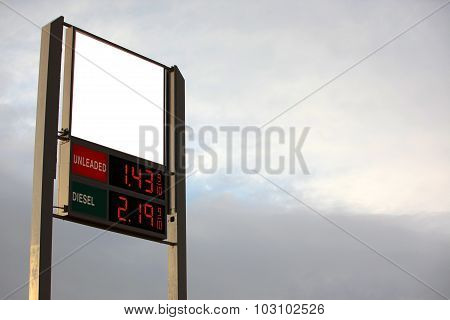 Petrol Station Sign With Empty Space