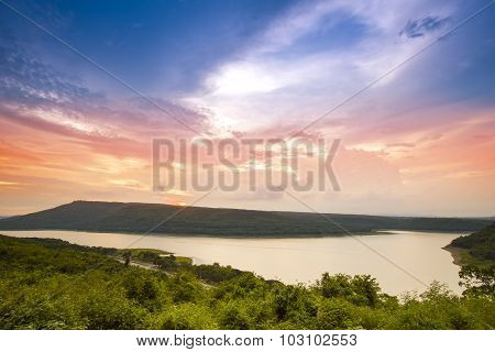 Lam Takong Reservoir Dam At Sunset