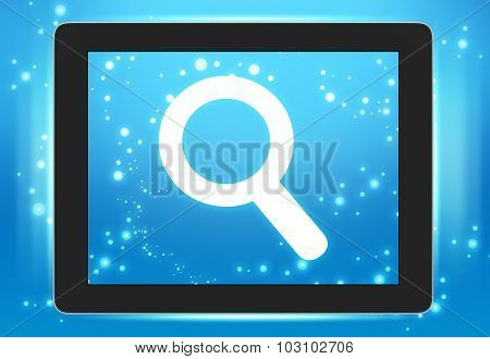 Screen tablet with icon magnifier wheels on the screen