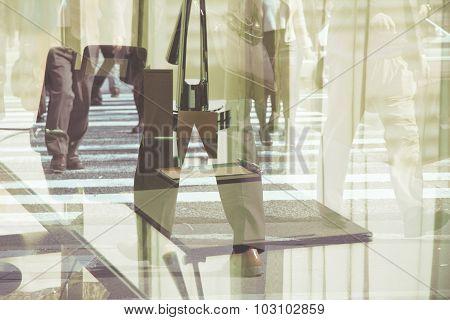Multiple exposure image of businessman walking