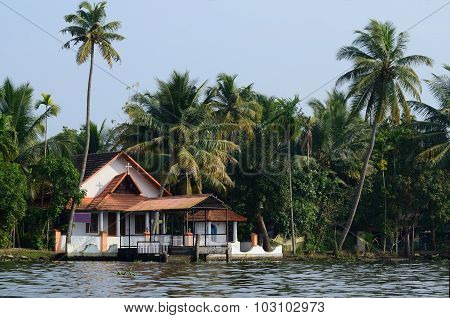 Rural Church At Alappuzha Backwaters,south India.kerala Backwaters Is A Chain Of Lagoons And Lakes