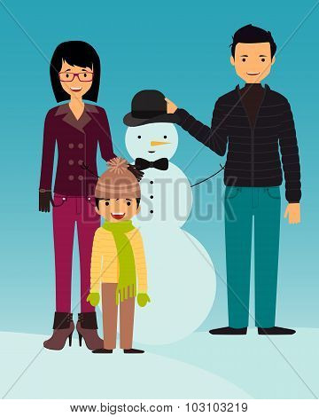 Family builds snowman. Kid play outdoors in winter. Vector illustration