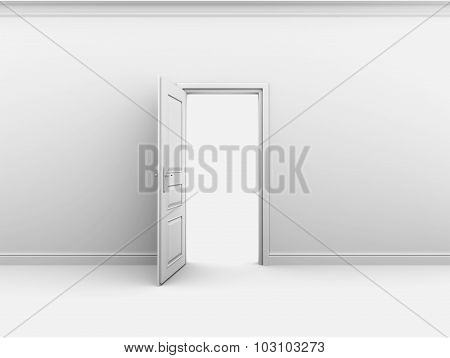 Open interior doors in a white abyss