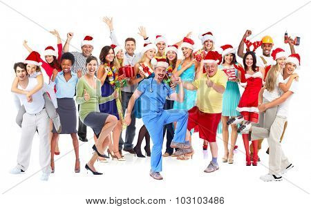 Happy joyful people group isolated white background.