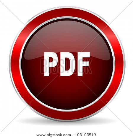 pdf red circle glossy web icon, round button with metallic border
