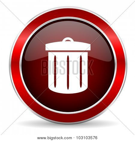 recycle red circle glossy web icon, round button with metallic border