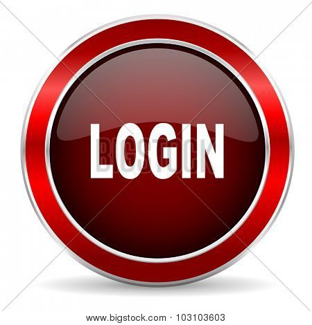 login red circle glossy web icon, round button with metallic border