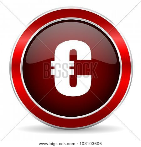 euro red circle glossy web icon, round button with metallic border