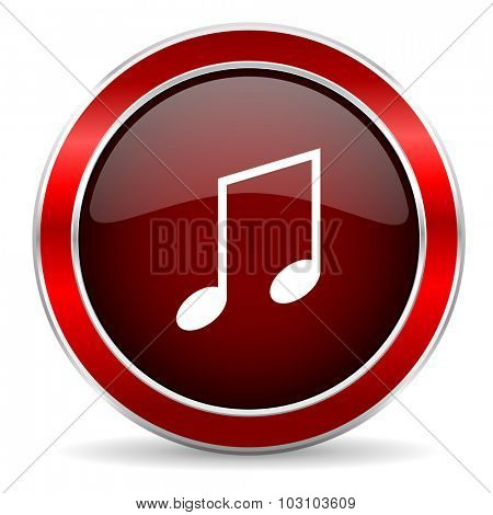 music red circle glossy web icon, round button with metallic border