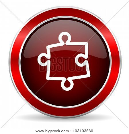 puzzle red circle glossy web icon, round button with metallic border