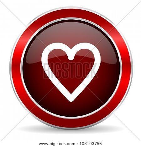 heart red circle glossy web icon, round button with metallic border