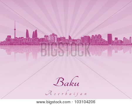 Baku Skyline In Purple Radiant Orchid