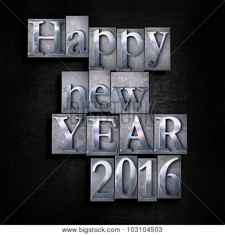 3D rendering of the words Happy New Year 2016 written in vintage typscript  on a black background