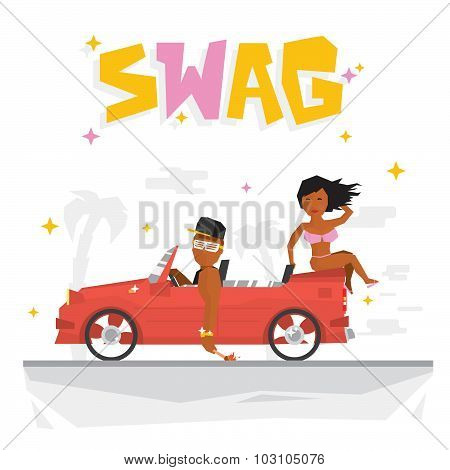 Swag boy and sexy girl vector illustration
