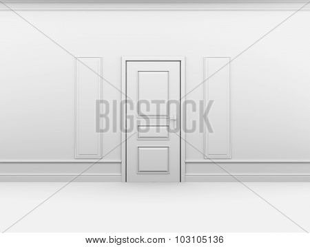 Closed door in empty interior with frame on wall