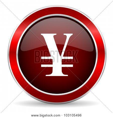 yen red circle glossy web icon, round button with metallic border