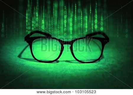Reading Eyeglasses Absorb Binary Data , Concept Of Future Knowledge Technology Vision