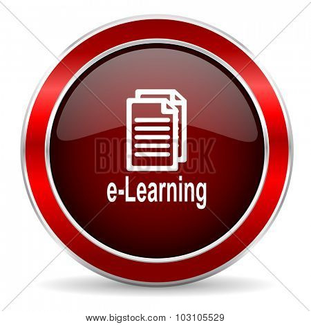 learning red circle glossy web icon, round button with metallic border