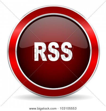 rss red circle glossy web icon, round button with metallic border