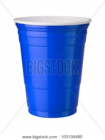 Blue Plastic Cup With A Clipping Path