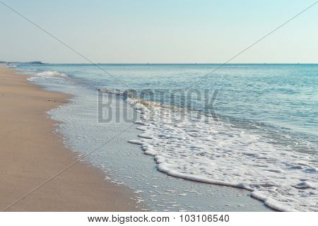 Wave of sea on the sand beach