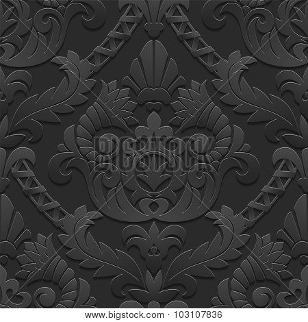 Dark vintage seamless pattern of cut paper background with shadows and highlights. Vector illustration