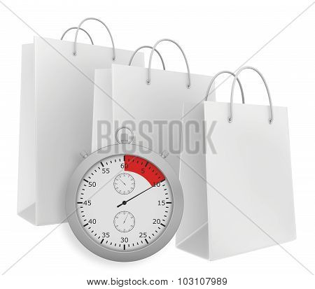 Stopwatch with three paper bags isolated on white background