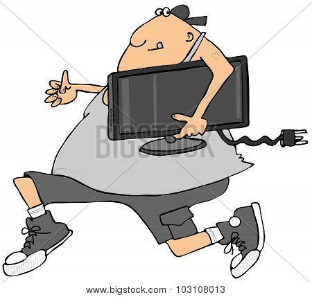 Man stealing a TV