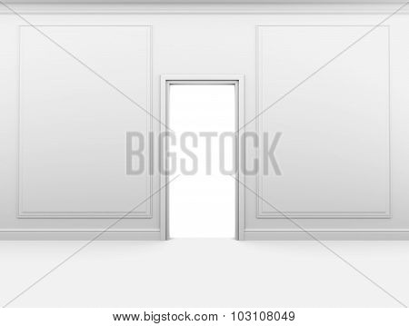 White empty room with a closed door and frame on the wall