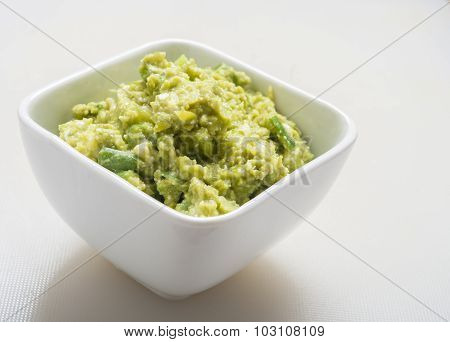 Guacamole Appetizer Healthy Snack close up on white
