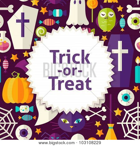 Flat Vector Pattern Halloween Trick Or Treat Background