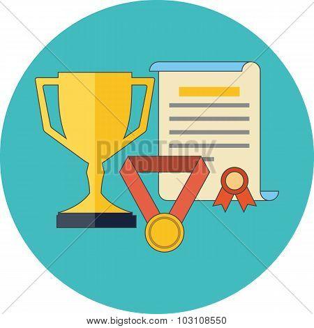 Rewards, Achievements, Awards Concept. Flat Design.
