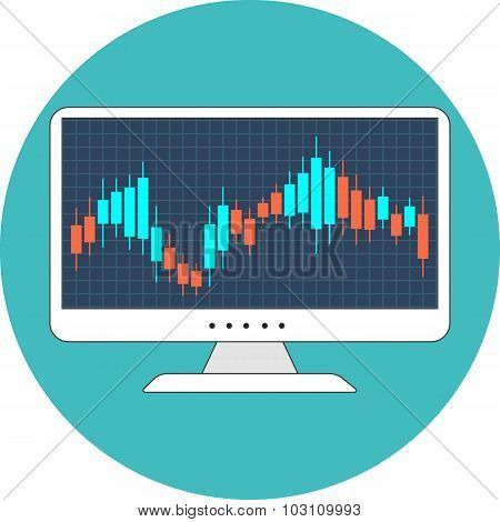 Stock Market Concept. Flat Design.