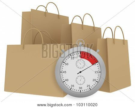 Stopwatch with three brown paper bag isolated on white background