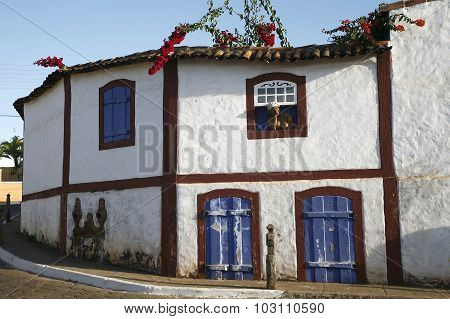 facade of colonial house In Brazil