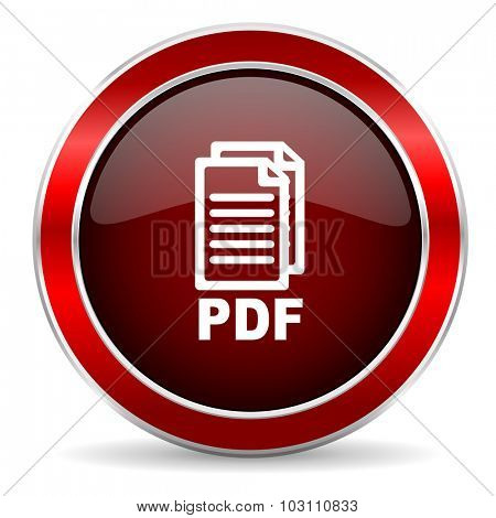 pdf red circle glossy web icon, round button with metallic border,