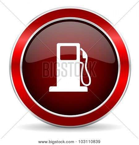 petrol red circle glossy web icon, round button with metallic border