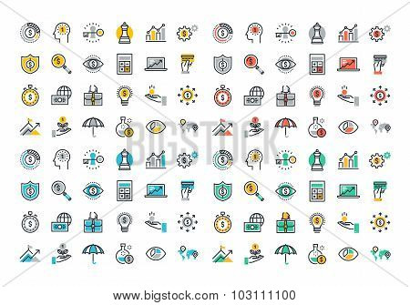 Flat line colorful icons collection of finance