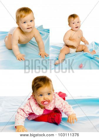 Set Of Three Photos. Baby Girl On A Blue Blanket. Studio