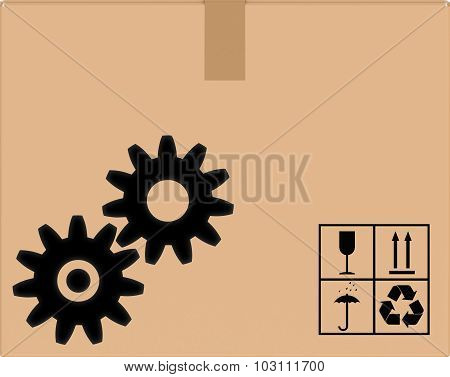background cardboard box with gear icon.