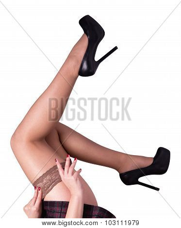 Legs In Stockings Isolated On White Background