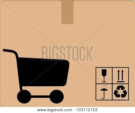 background cardboard box with cart icon.