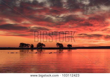 Red Orange Dawn On The Lake.