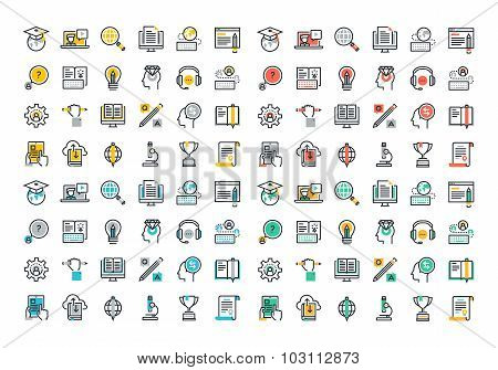 Flat line colorful icons collection of e-learning