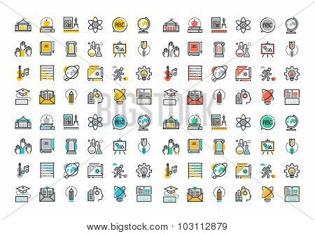Flat line colorful icons collection of education