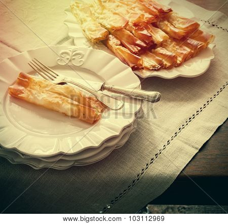 Pastry Served In White Plates, Vintage Effect