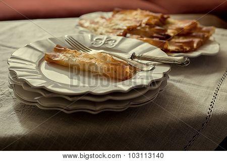 Tasty Pasta Served In Porcelain Plates, Closeup Shot