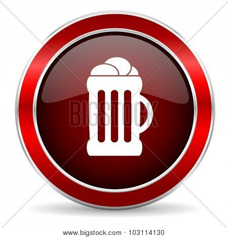 beer red circle glossy web icon, round button with metallic border