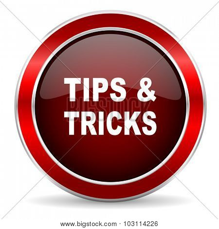 tips tricks red circle glossy web icon, round button with metallic border
