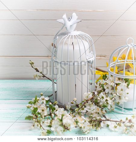 Background With White Spring Blossom  Of Trees And Candles